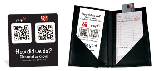 google+ and yelp review table tents